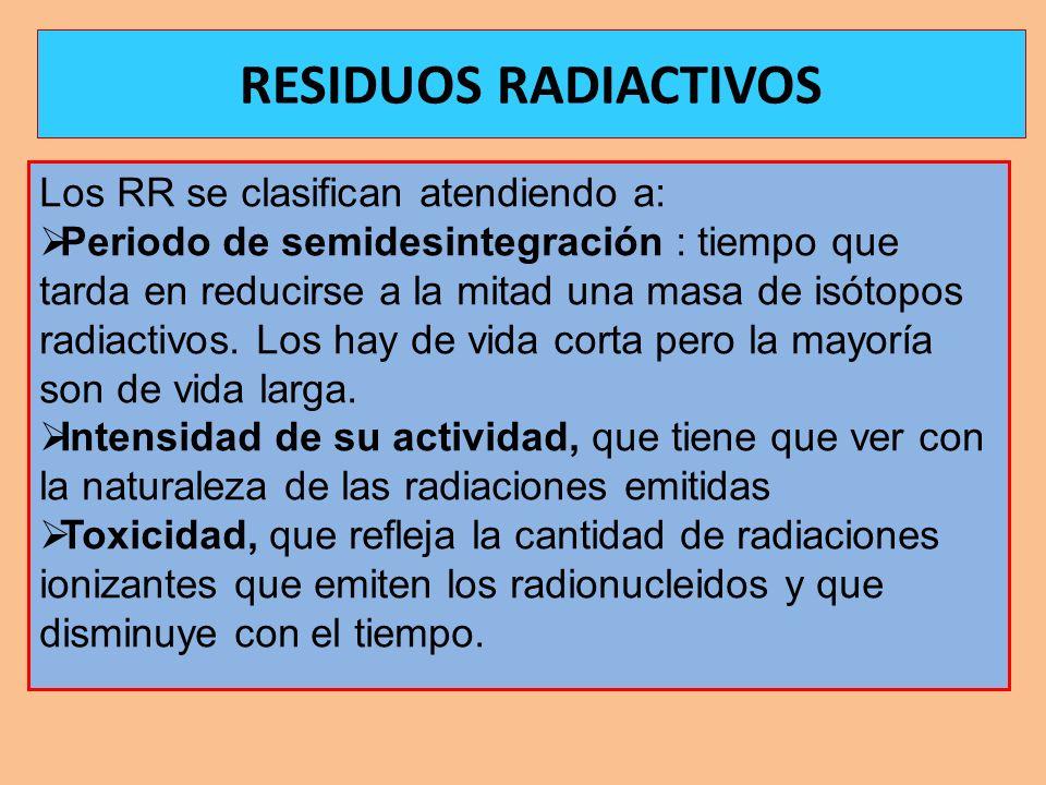 RESIDUOS RADIACTIVOS Los RR se clasifican atendiendo a: