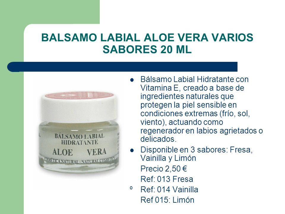 BALSAMO LABIAL ALOE VERA VARIOS SABORES 20 ML