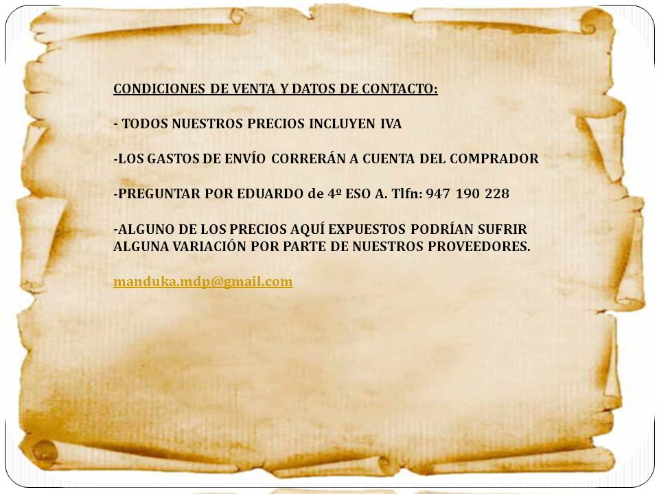 CONDICIONES DE VENTA Y DATOS DE CONTACTO: