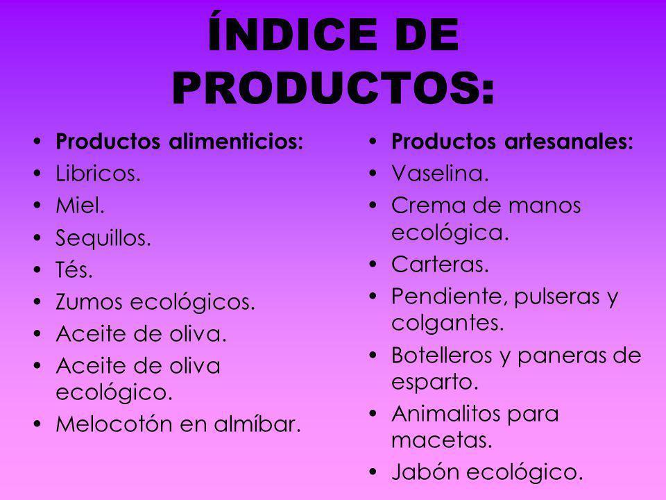 ÍNDICE DE PRODUCTOS: Productos alimenticios: Libricos. Miel.