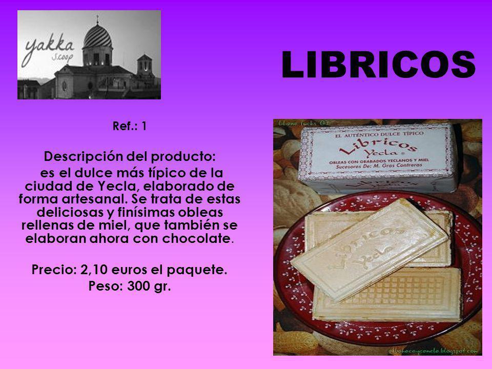 Descripción del producto: Precio: 2,10 euros el paquete.