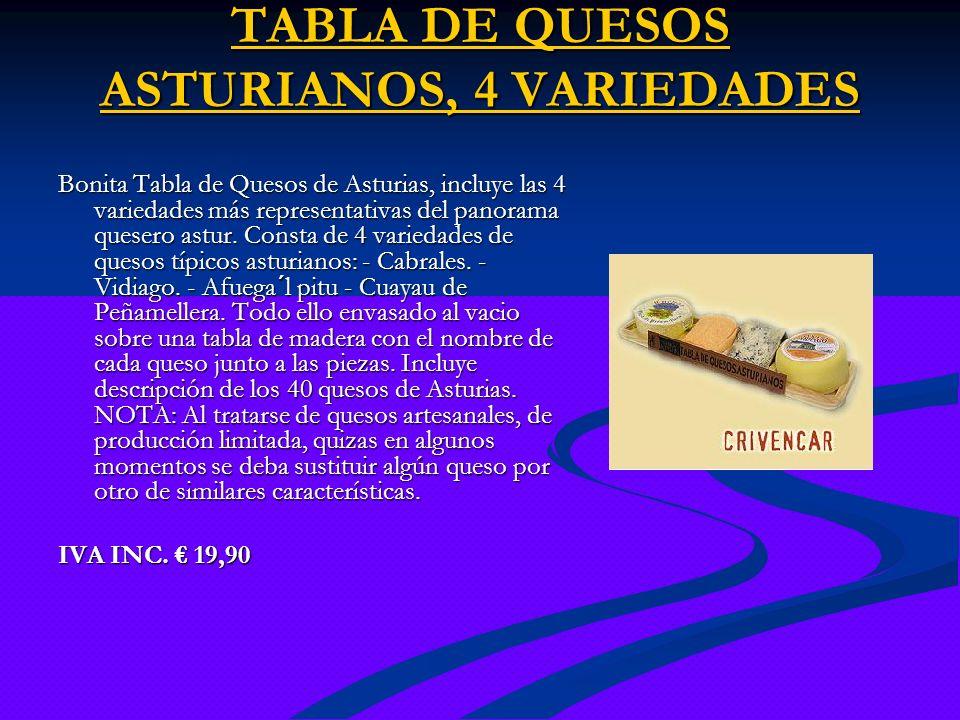 TABLA DE QUESOS ASTURIANOS, 4 VARIEDADES