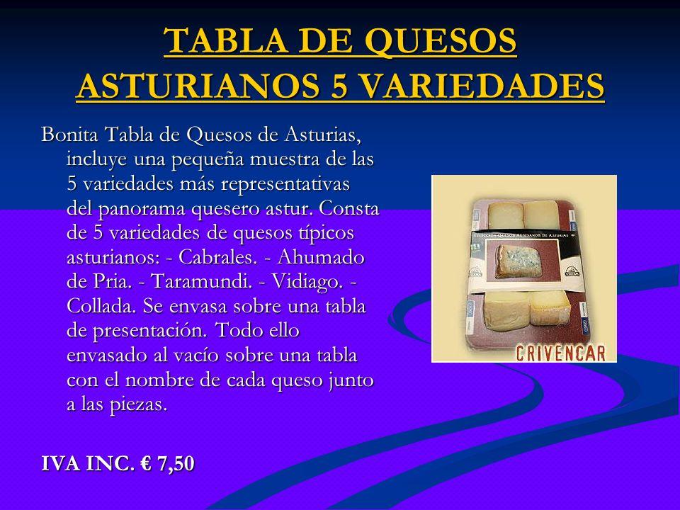 TABLA DE QUESOS ASTURIANOS 5 VARIEDADES