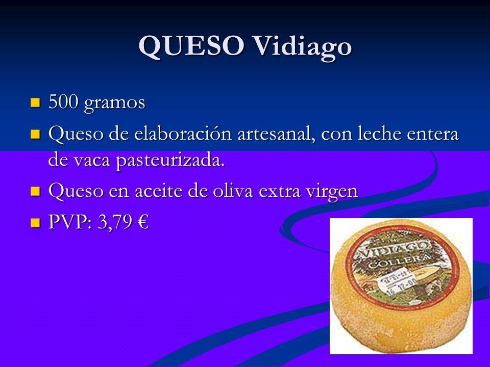 QUESO Vidiago500 gramos. Queso de elaboración artesanal, con leche entera de vaca pasteurizada. Queso en aceite de oliva extra virgen.
