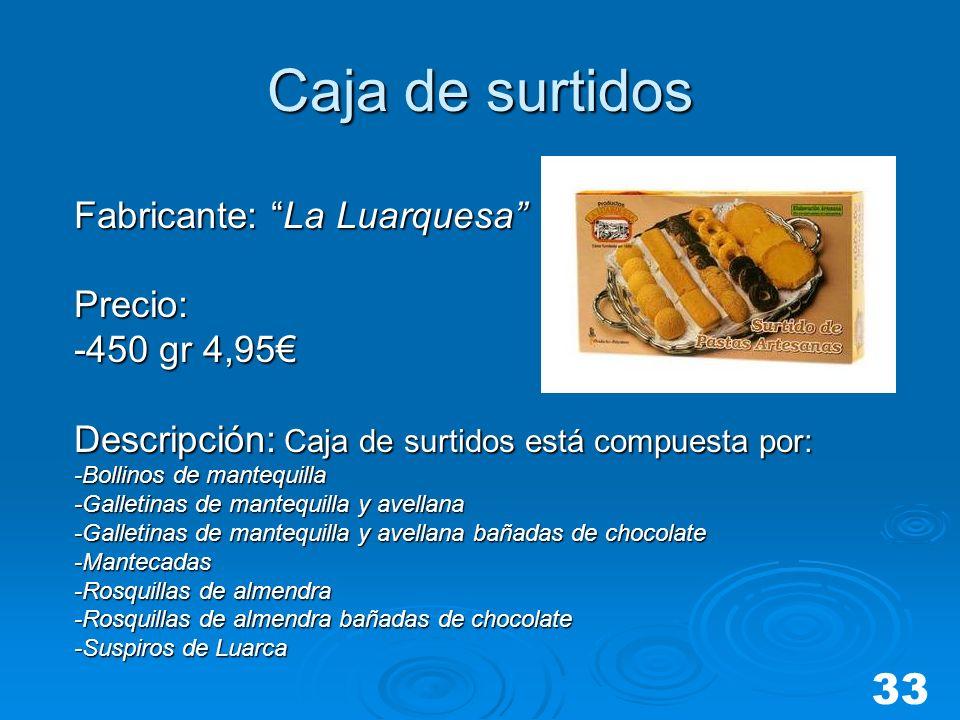 Caja de surtidos 33 Fabricante: La Luarquesa Precio: -450 gr 4,95€
