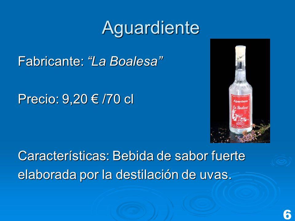 Aguardiente Fabricante: La Boalesa Precio: 9,20 € /70 cl