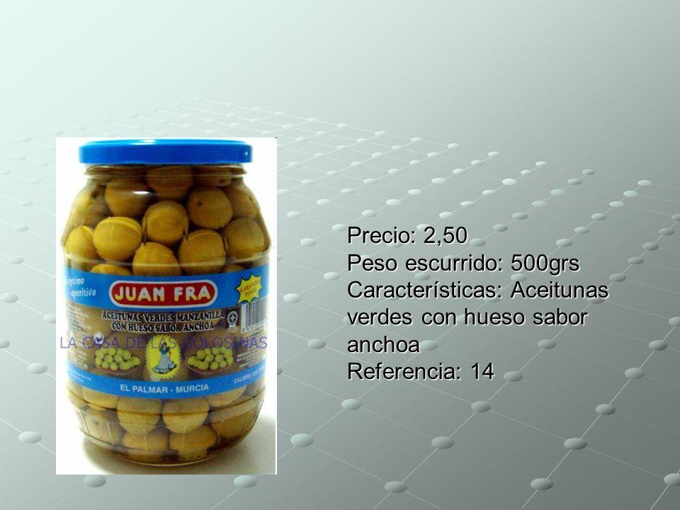 Precio: 2,50 Peso escurrido: 500grs Características: Aceitunas verdes con hueso sabor anchoa Referencia: 14