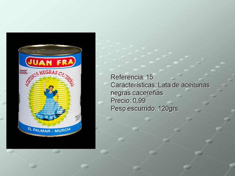 Referencia: 15 Características: Lata de aceitunas negras cacereñas Precio: 0.99 Peso escurrido: 120grs