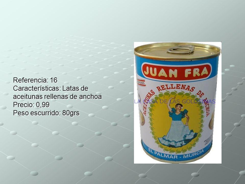 Referencia: 16 Características: Latas de aceitunas rellenas de anchoa Precio: 0,99 Peso escurrido: 80grs