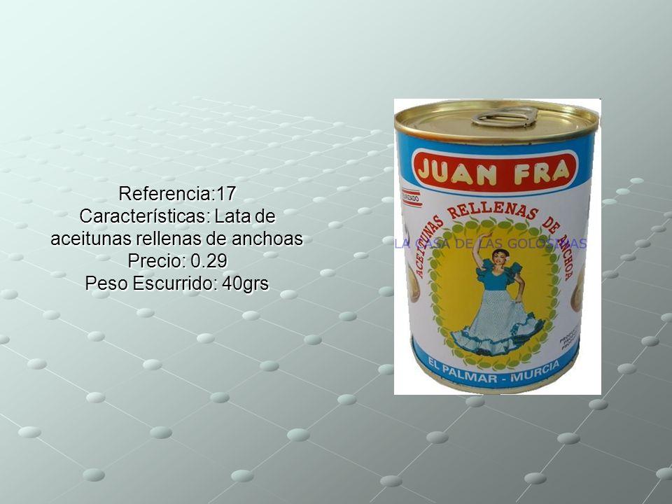 Referencia:17 Características: Lata de aceitunas rellenas de anchoas Precio: 0.29 Peso Escurrido: 40grs