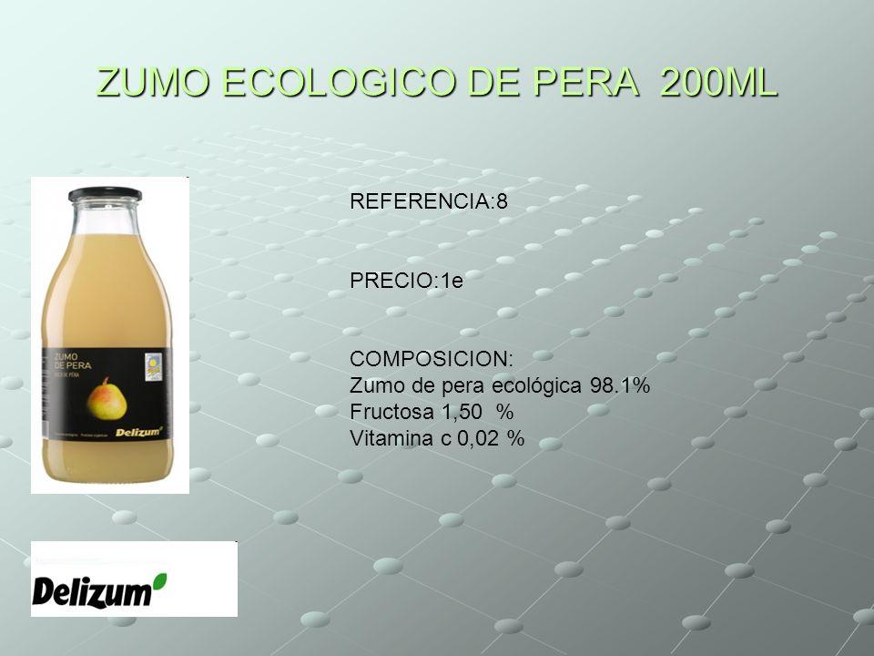 ZUMO ECOLOGICO DE PERA 200ML