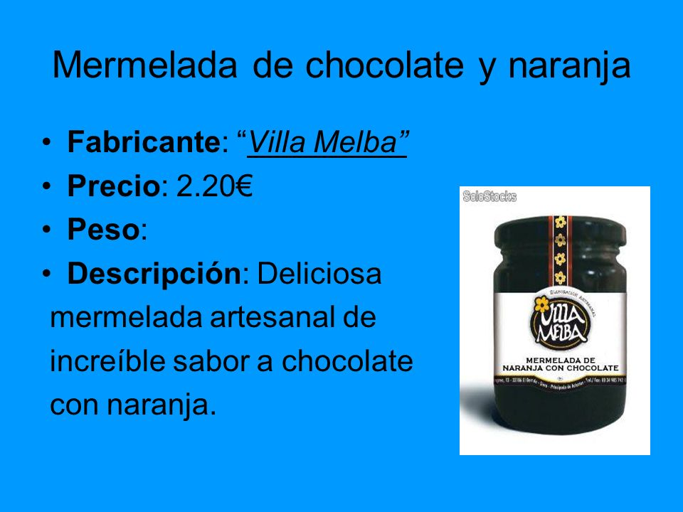 Mermelada de chocolate y naranja