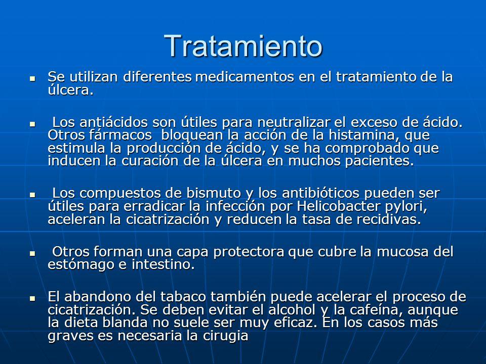 Tratamiento Se utilizan diferentes medicamentos en el tratamiento de la úlcera.