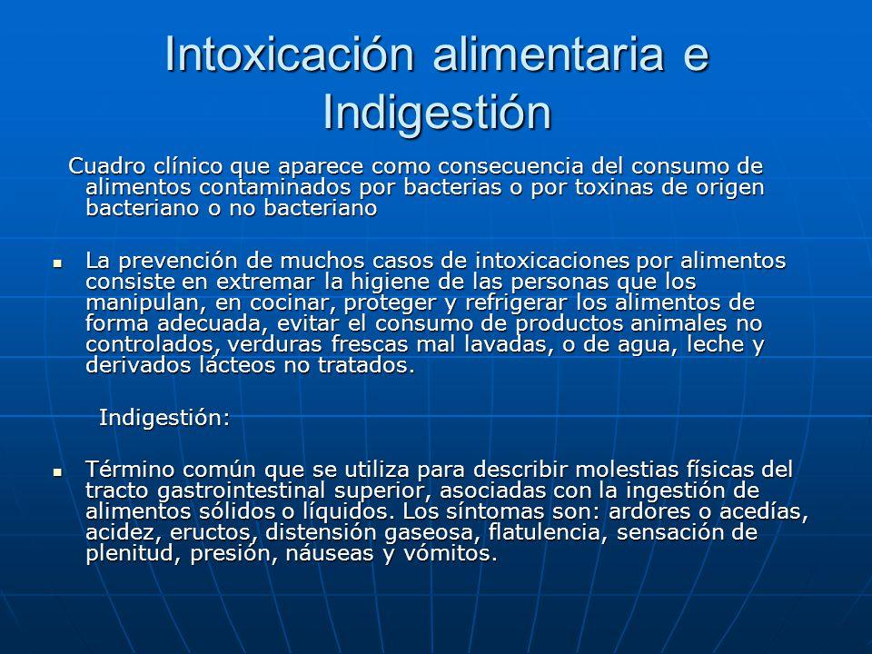 Intoxicación alimentaria e Indigestión