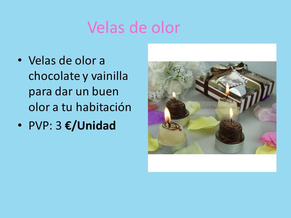 Velas de olor Velas de olor a chocolate y vainilla para dar un buen olor a tu habitación.