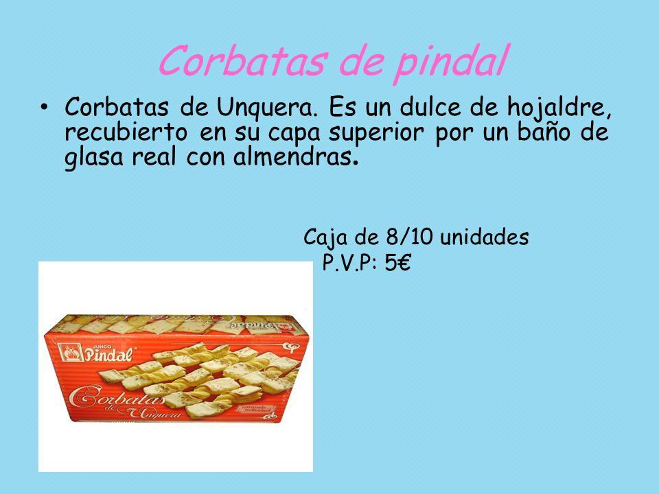 Corbatas de pindal Corbatas de Unquera. Es un dulce de hojaldre, recubierto en su capa superior por un baño de glasa real con almendras.