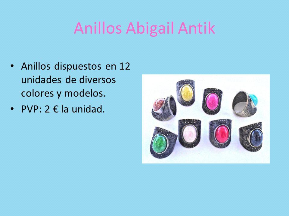 Anillos Abigail Antik Anillos dispuestos en 12 unidades de diversos colores y modelos.