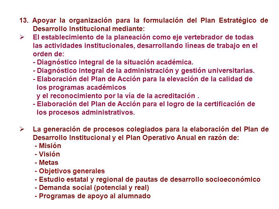 13. Apoyar la organización para la formulación del Plan Estratégico de Desarrollo Institucional mediante: