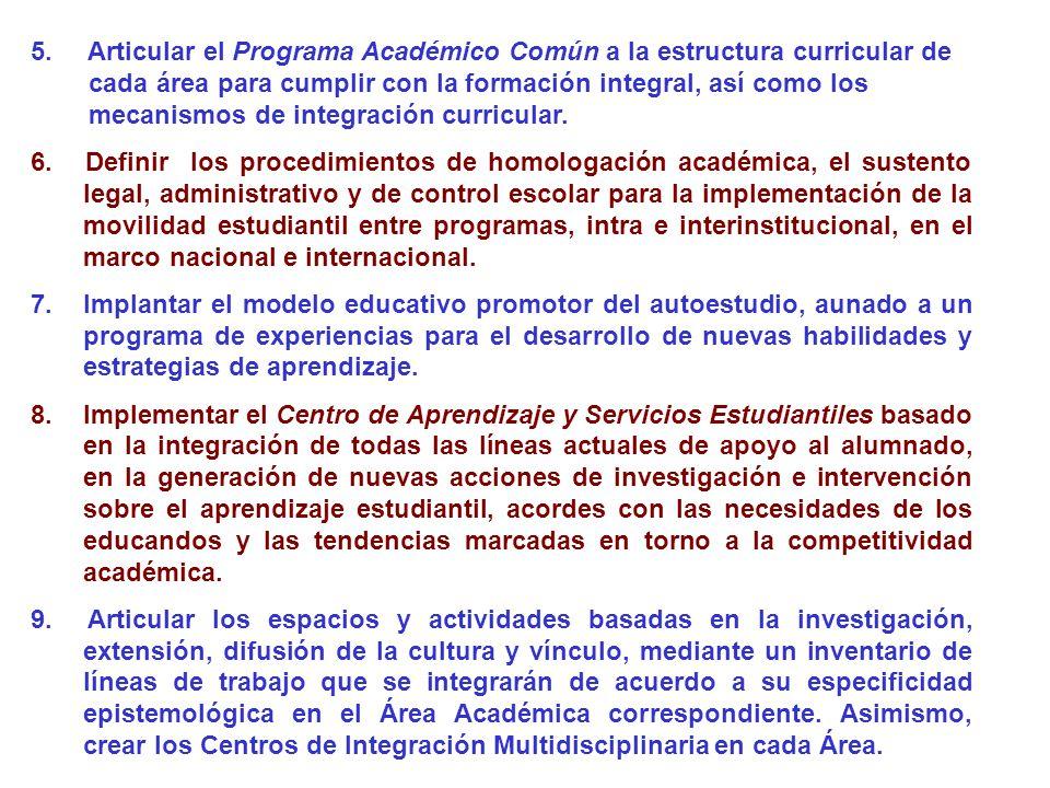 5. Articular el Programa Académico Común a la estructura curricular de