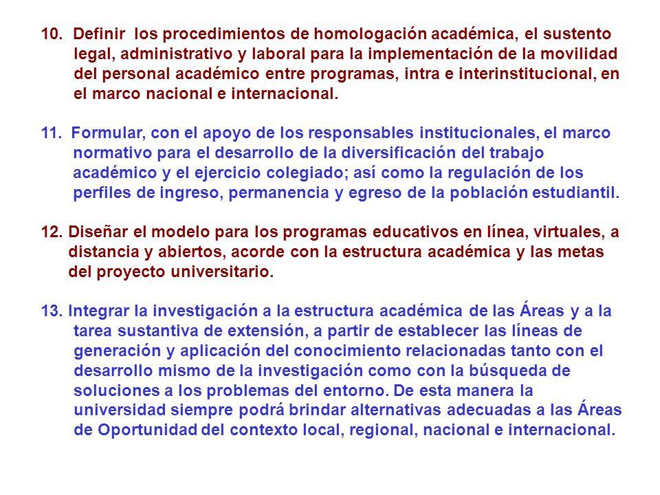 10. Definir los procedimientos de homologación académica, el sustento legal, administrativo y laboral para la implementación de la movilidad del personal académico entre programas, intra e interinstitucional, en el marco nacional e internacional.