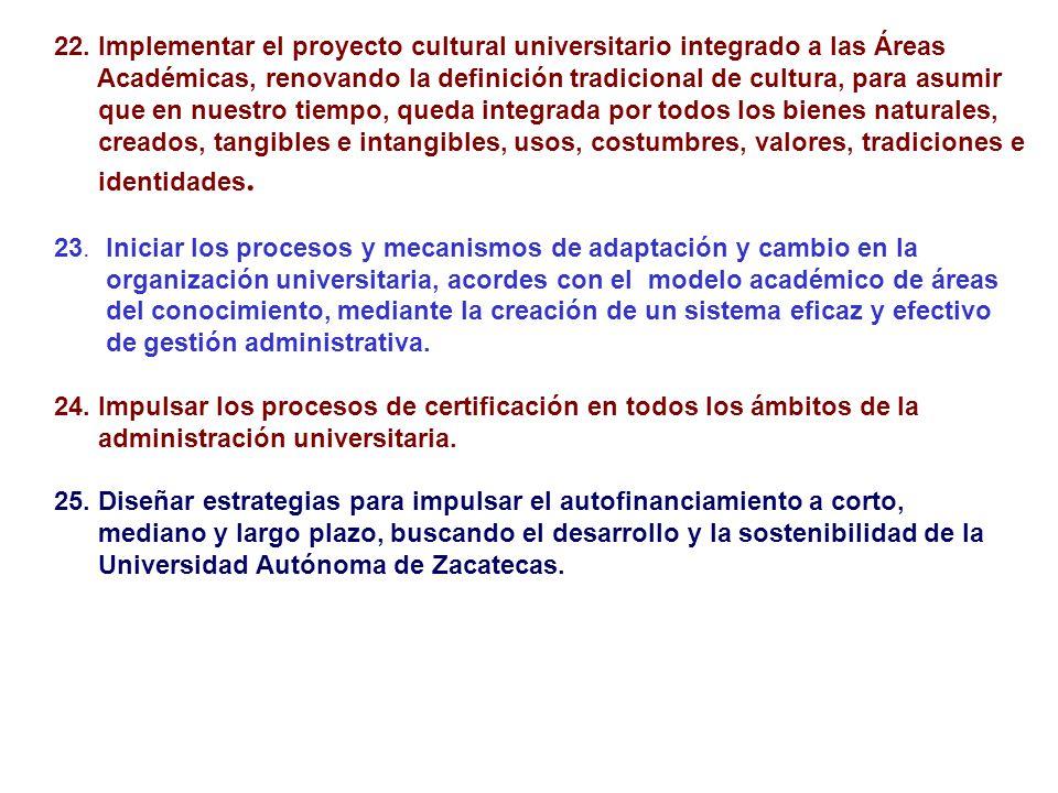 22. Implementar el proyecto cultural universitario integrado a las Áreas