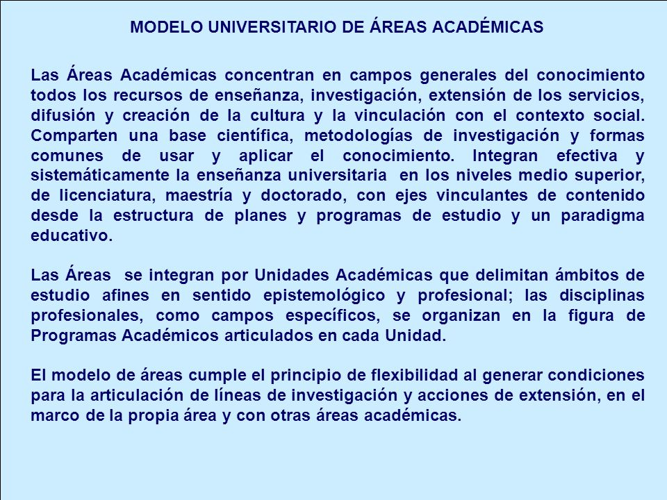 MODELO UNIVERSITARIO DE ÁREAS ACADÉMICAS