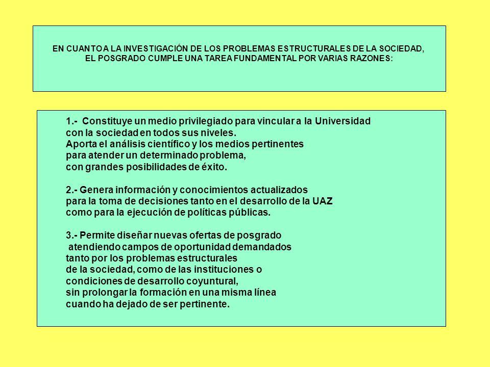 EL POSGRADO CUMPLE UNA TAREA FUNDAMENTAL POR VARIAS RAZONES: