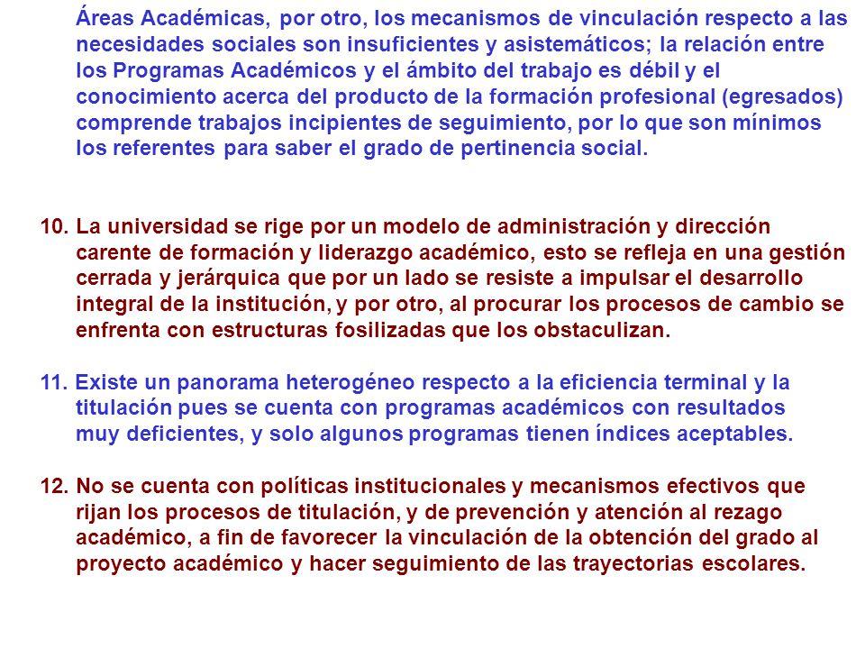 Áreas Académicas, por otro, los mecanismos de vinculación respecto a las