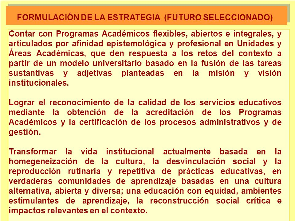 FORMULACIÓN DE LA ESTRATEGIA (FUTURO SELECCIONADO)