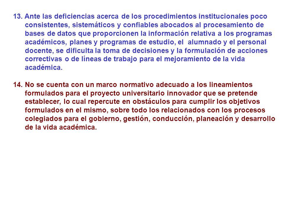 13. Ante las deficiencias acerca de los procedimientos institucionales poco