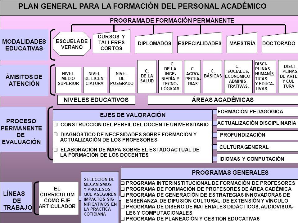 PLAN GENERAL PARA LA FORMACIÓN DEL PERSONAL ACADÉMICO