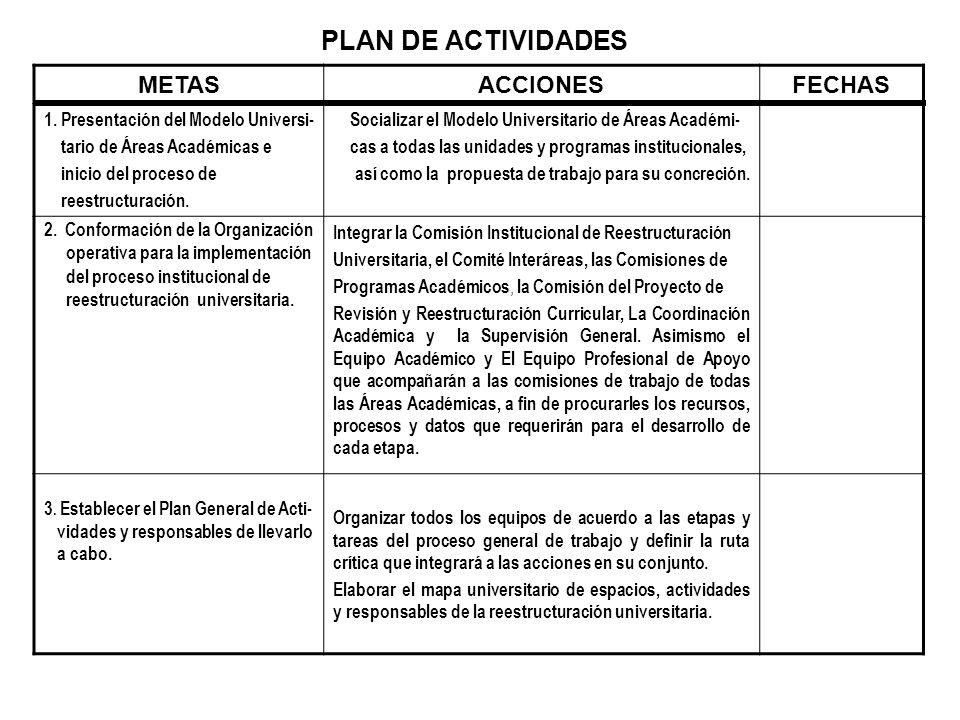 PLAN DE ACTIVIDADES METAS ACCIONES FECHAS