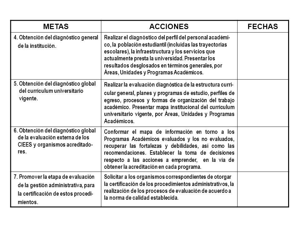 METAS ACCIONES FECHAS 4. Obtención del diagnóstico general