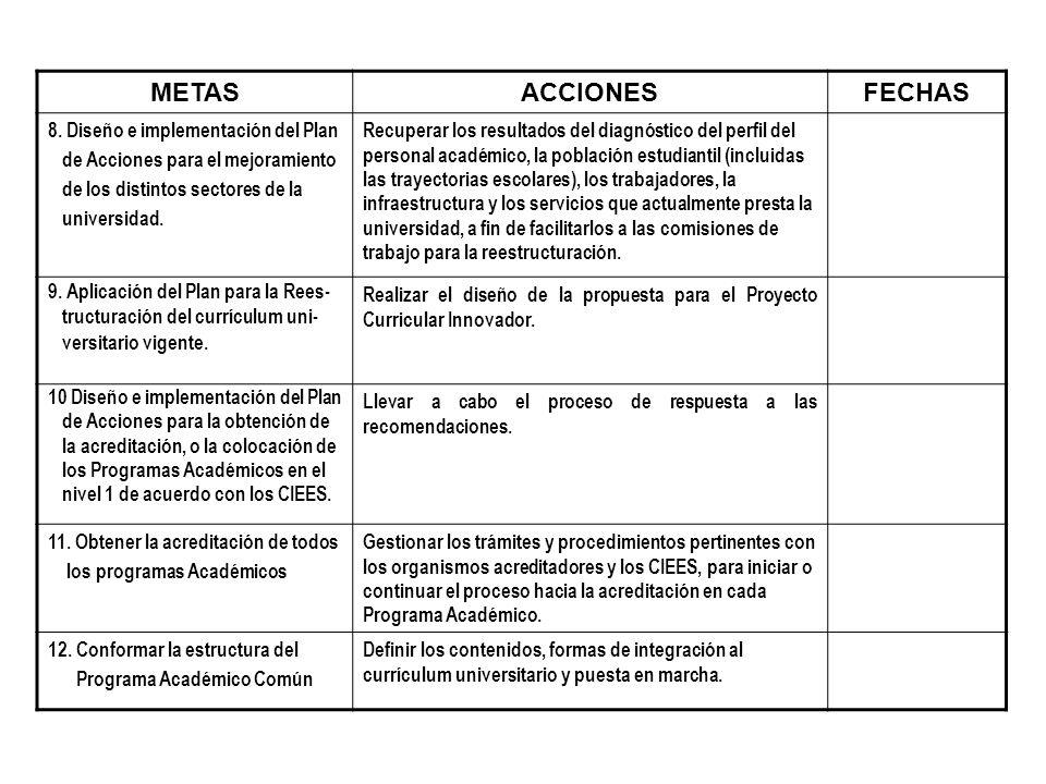 METAS ACCIONES FECHAS 8. Diseño e implementación del Plan