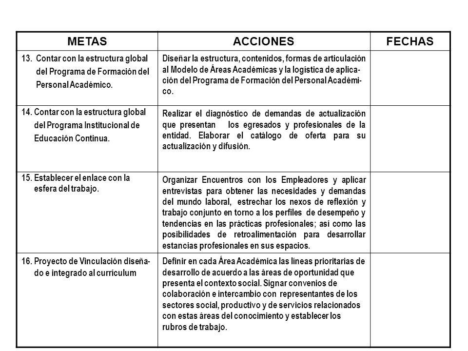 METAS ACCIONES FECHAS 13. Contar con la estructura global