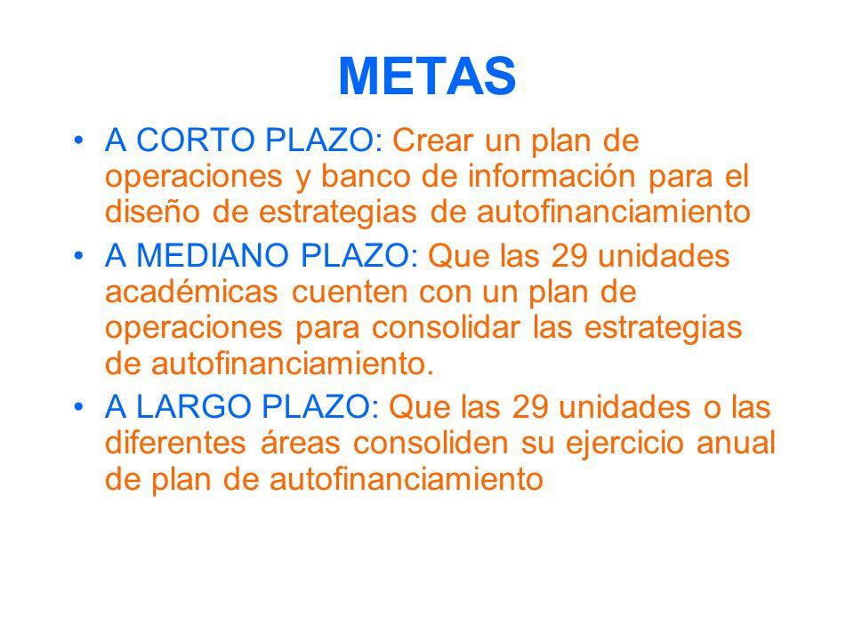 METAS A CORTO PLAZO: Crear un plan de operaciones y banco de información para el diseño de estrategias de autofinanciamiento.