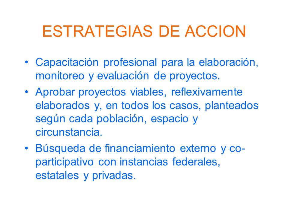 ESTRATEGIAS DE ACCION Capacitación profesional para la elaboración, monitoreo y evaluación de proyectos.
