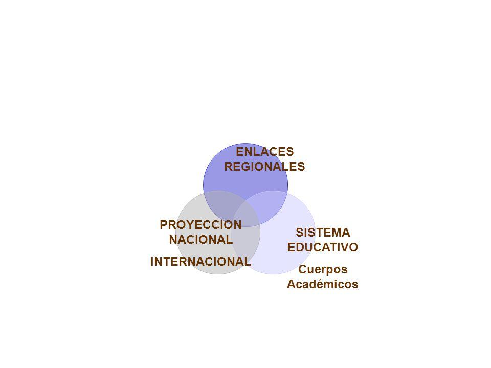 ENLACES REGIONALES PROYECCION NACIONAL INTERNACIONAL SISTEMA EDUCATIVO Cuerpos Académicos