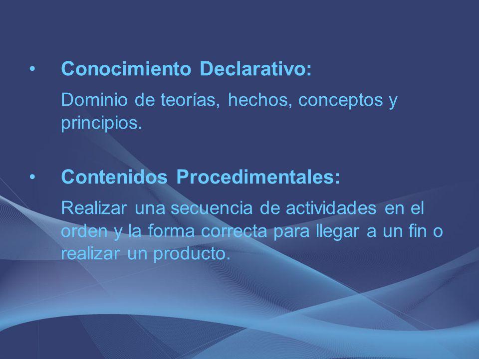 Dominio de teorías, hechos, conceptos y principios.