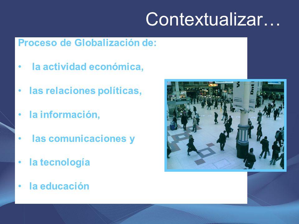 Contextualizar… Proceso de Globalización de: la actividad económica,