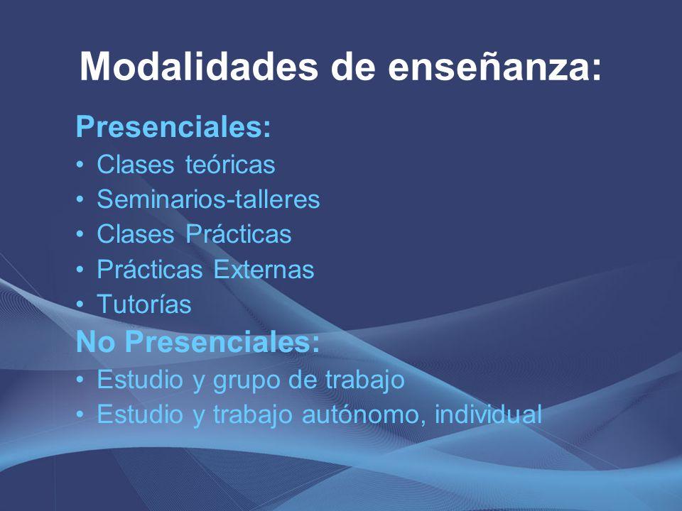 Modalidades de enseñanza: