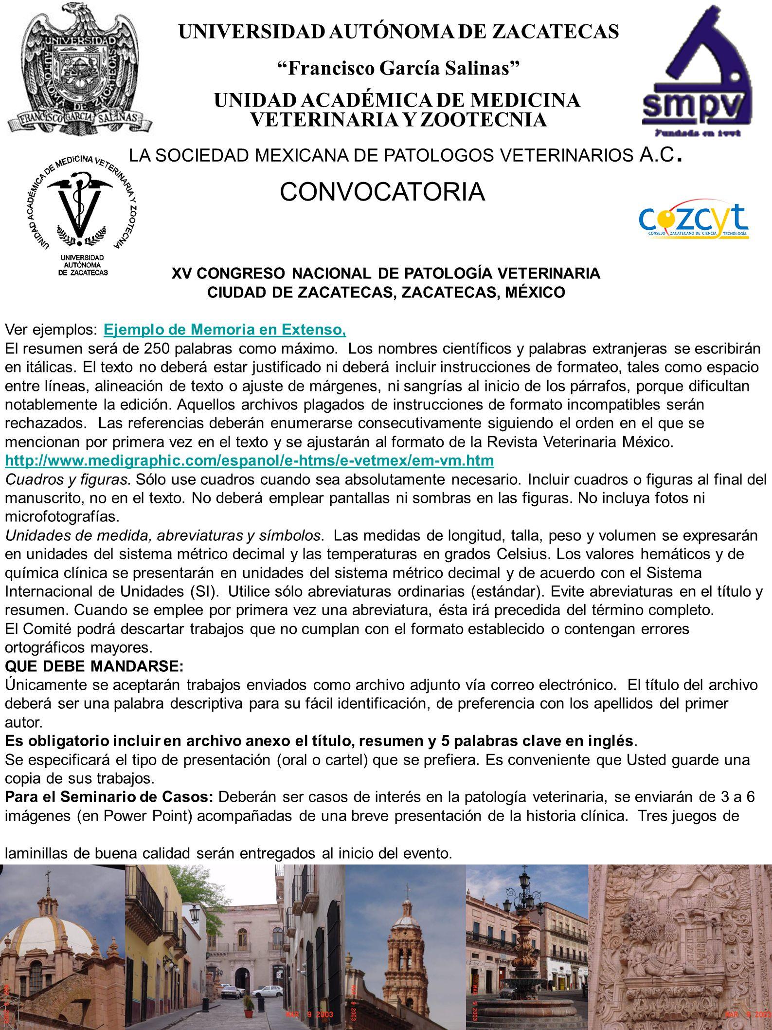 CONVOCATORIA XV CONGRESO NACIONAL DE PATOLOGIA VETERINARIA