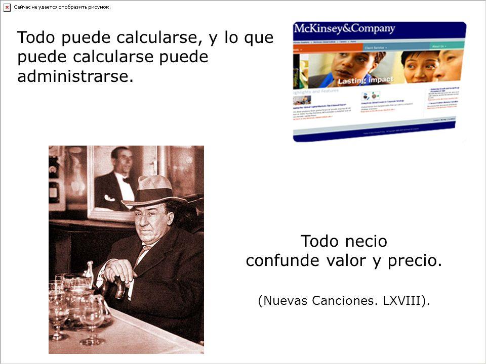 Todo puede calcularse, y lo que puede calcularse puede administrarse.