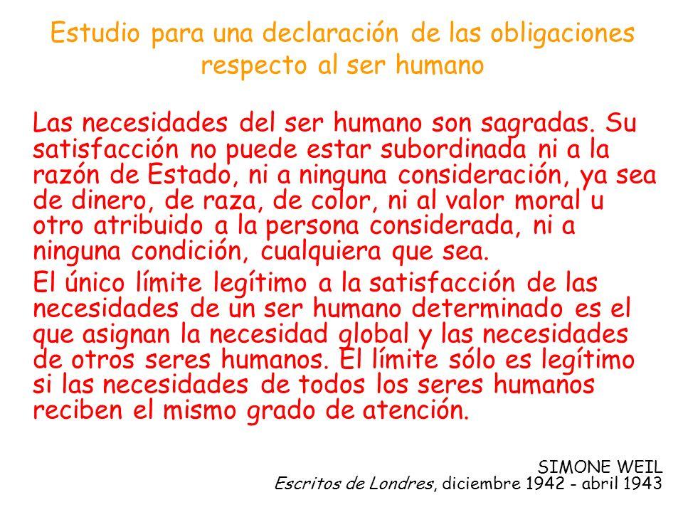 Estudio para una declaración de las obligaciones respecto al ser humano