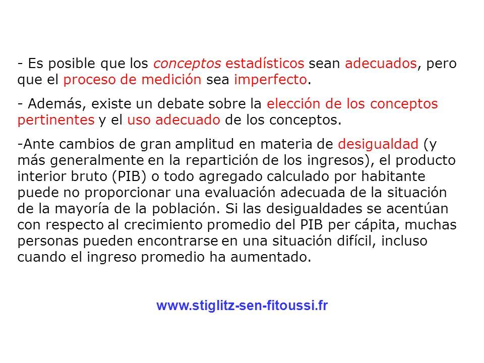- Es posible que los conceptos estadísticos sean adecuados, pero que el proceso de medición sea imperfecto.