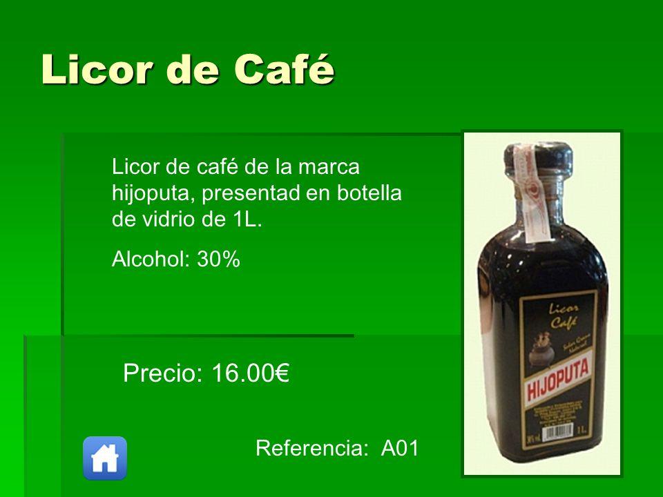 Licor de CaféLicor de café de la marca hijoputa, presentad en botella de vidrio de 1L. Alcohol: 30%