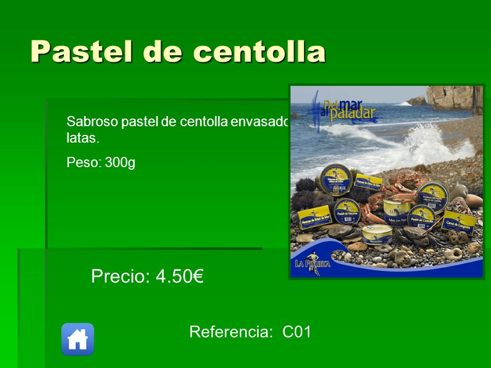 Pastel de centolla Precio: 4.50€ Referencia: C01