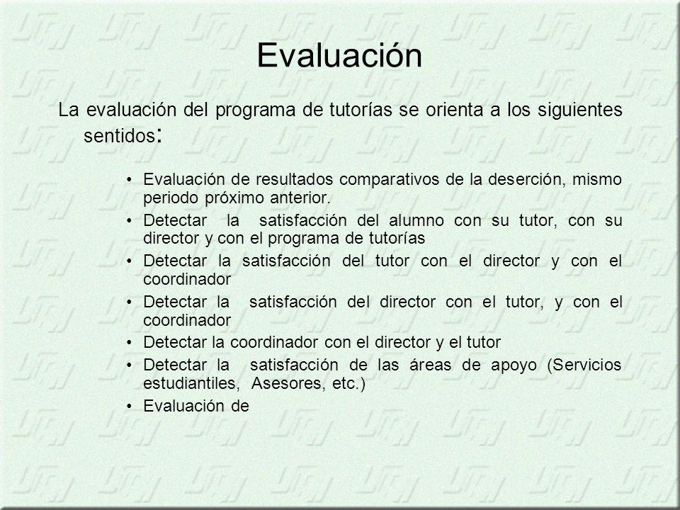 Evaluación La evaluación del programa de tutorías se orienta a los siguientes sentidos: