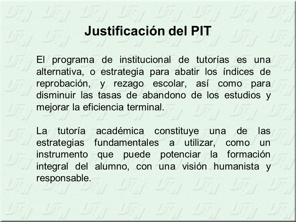 Justificación del PIT