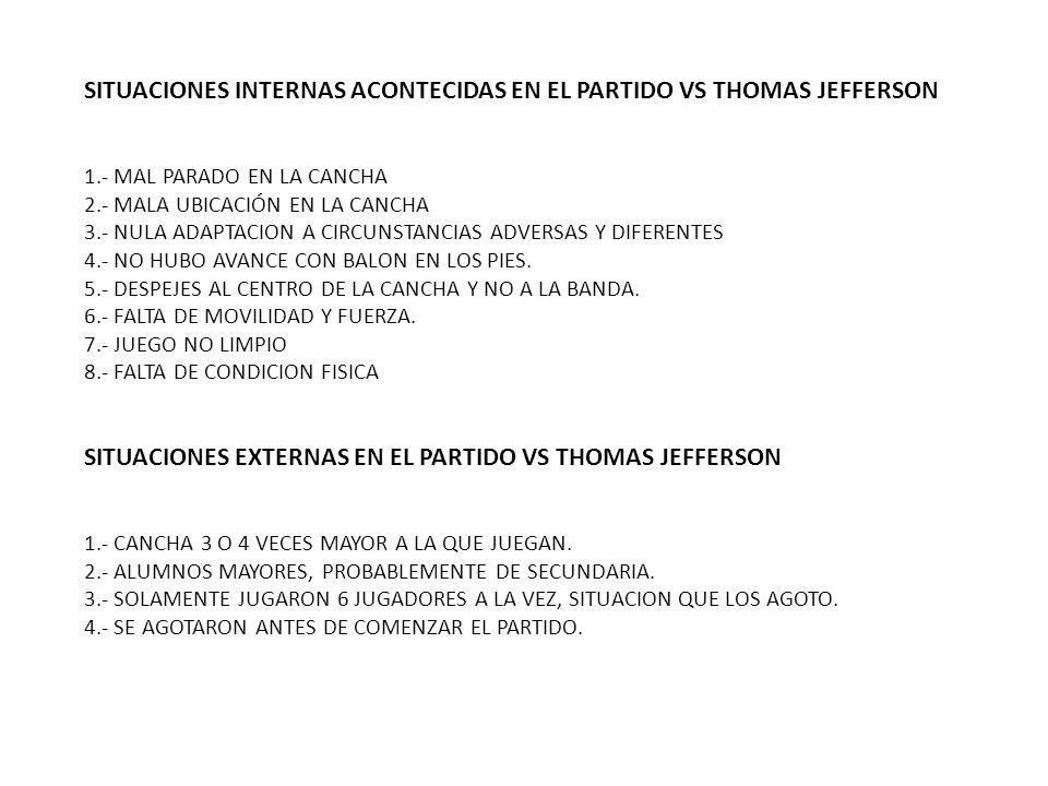 SITUACIONES INTERNAS ACONTECIDAS EN EL PARTIDO VS THOMAS JEFFERSON